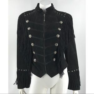 Cripple Creek Black Leather Fringe Jacket